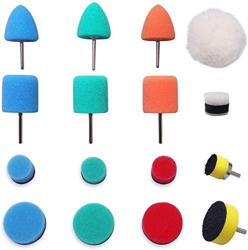Mini Buffing Polishing Pads, 16Pcs Mini Detail Polisher Pads Use On Rotary Tools,Cordless electric drill, Mini Polisher Tool for Tight Area Detailing Polishing Waxing And Sealing Glaze -HTDEPMIXUS