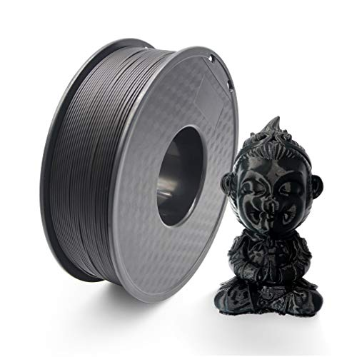 Filament PLA 3D Printer Filament 1.75 mm Tolerance Accuracy +/- 0.02 mm PLA 3D Printer Filament 1 kg Spool (2.2 lbs) for 1.75 mm FDM 3D Printer (Black)