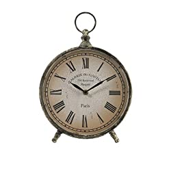 CC Home Furnishings 11.5 Distressed Over-Sized Pocket Watch Style Roman Numeral Desk Clock