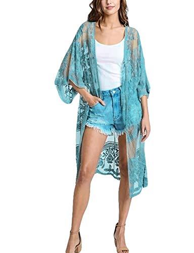 Bsubseach Mujer Cárdigan de Playa Azul Bordado Kimono Traje de Baño Cubrir Bikini Túnica de Bikini