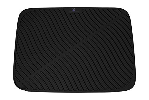 Large Silicone Dish Drying Mat, Worktop and Sink Protector, Extra Thick and Sturdy Heat Resistant Trivet (Black)