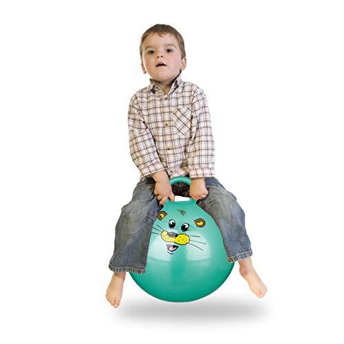 Relaxdays 10022554_53 Hüpfball Kinder, Maus, mit Griff, für Drinnen und Draußen, mit Tier-Motiv, weich, 45 cm Durchmesser, grün