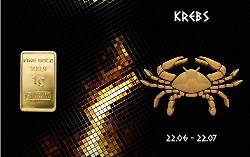 Deutsches Goldkontor 1,0 Gramm Feingold Motiv-Karte Sternzeichen Krebs Goldbarren / 999,9 Gold