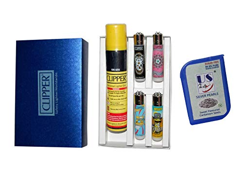 Clipper Lighter - bundle pack - 4 Refillable Clipper Lighters with Clipper Gas Refiller Can 100ML