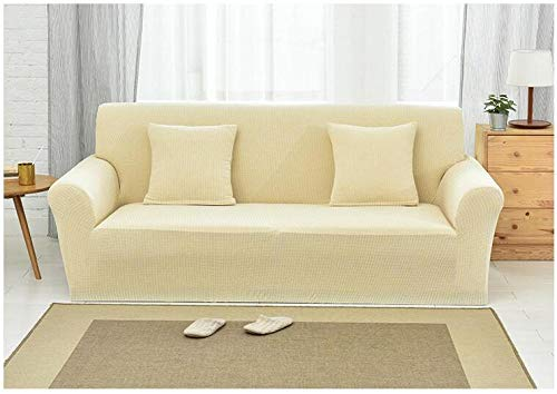 Forro de Sofá Doméstico,Knitted Check Stretch Sofa Cover, Full Cover Non-Slip Cushion Cover, Home Anti-fouling Protective Cover-Corn Yellow_145-185cm