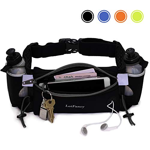 LotFancy Running Hydration Belt Free 2 Water Bottle (BPA Free), Waist Belt Unisex Comfortable and Breathable, Best Partner for Marathon, Jogging, Cycling, Climbing, Camping and More Black