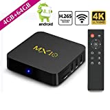 SCSETC Newest Android TV Box DDR4 4G+32GB,4K Android 8.1 H.265 64bit Media Streaming Player Smart Box with Wireless, Support Media,Music,Photo...(Black)
