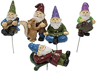 5 PCs Gnome Miniature Dwarf Decoration Fairy Tale Garden Accessories Planters Decor Resin Ornaments Garden Bonsai Decorati...