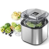 Ice Cream Maker Automatic Easy Homemade Electric Frozen Yogurt, Sorbet, Ice Cream Machine 1.5L Capacity with LCD Digital Display, Healthy Homemade DIY Food, Silver