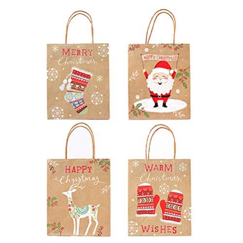 ULTNICE 12 Stücke Weihnachtstüten Geschenktüten Kraftpapier Süßigkeiten Schokolade Kekse Partytüten Geschenktaschen papiertüten für Xmas Hochzeit Party Gastgeschenk zufällige Motiv