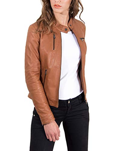 KYZER KRAFT Womens Leather Jacket Bomber Motorcycle Biker Real Lambskin Leather Jacket for Womens 101 L