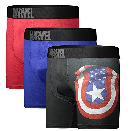 Captain America Performance Mesh Underwear Boxer Briefs 3-Pair Pack Large (36-38) Black