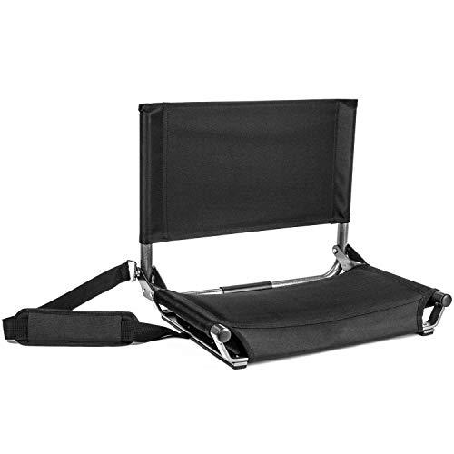 """Cascade Mountain Tech Portable Folding Steel Stadium Seats for Bleachers , Black, Regular - 17"""""""