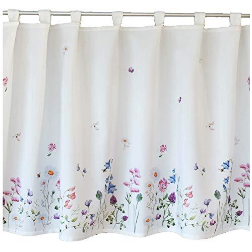 heimtexland ® Scheibengardine Blumenwiese Blickdicht Serie Blumen Weiß Bunt Bistrogardine HxB 60x150 Mehrfarbig Typ520
