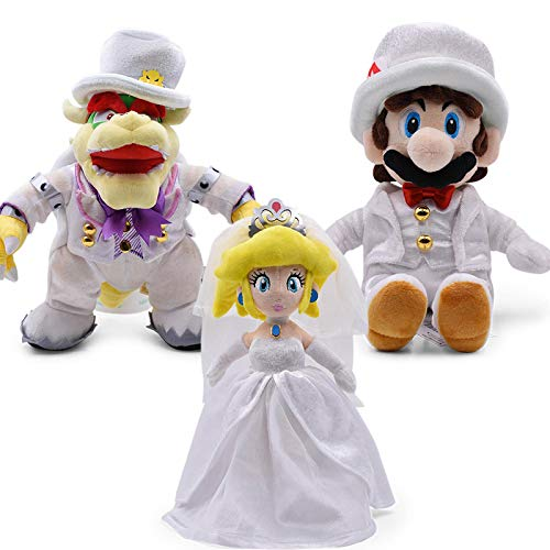 Zpong 3Pcs/Set 23-36Cm Mario Odyssey Wedding Dress Bowser Koopa Peach Luigi Dragon Dark Plush Toys Soft Stuffed Doll