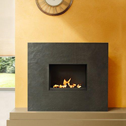 muenkel design Palazzo Grande [rechthoekige ethanol open haard, leisteen, bekled]: Rosso (leisteen rood) - met glasplaat - hotbox