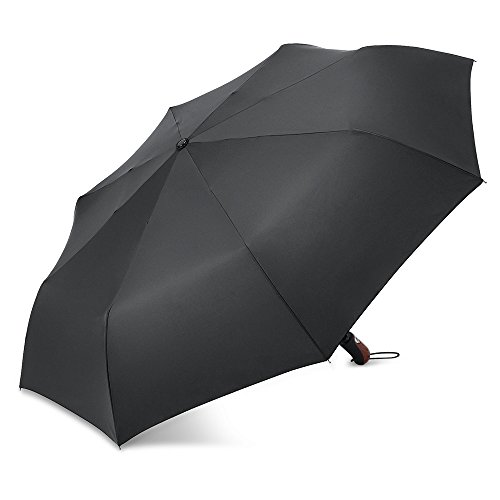 Plemo Automatic Open and Close Easy Touch Umbrella 50.5 Inch Business Compact Travel 8 Fiberglass Rib Water-repelling 210T Canopy Fabric Windproof and Waterproof Travel Umbrella Black