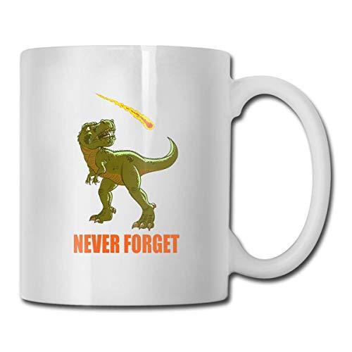 Taza Never Forget Dinosaurs, taza de café para bebidas calientes, taza de gres, taza de café de cerámica, taza de té de 11 onzas, divertida taza de regalo para té y café