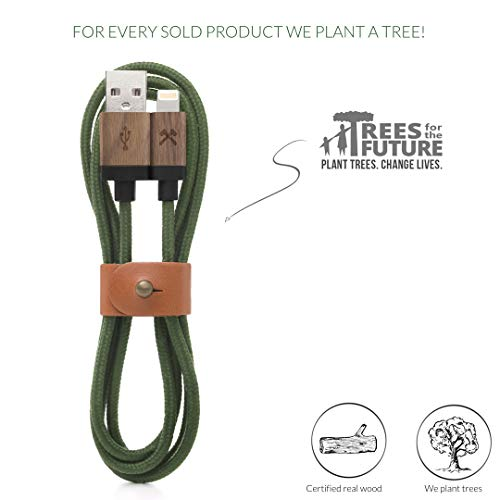 Woodcessories - Kabel kompatibel mit Apple Lightning Produkten aus Holz & Nylon - EcoCable (Walnuss/Grün)