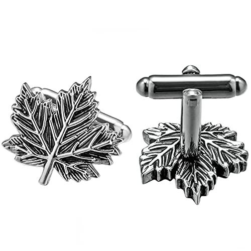 xcbdf Dignitoso Gemelli per Mens Foglie i Pulsanti del Bracciale Elegante (Metal Color : Imitation Rhodium Plated)