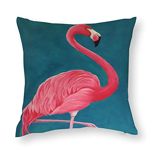 VariClouding Cotton Pillowcase, Tropical Flamingo Novelty Square Throw Pillow Covers Custom Cotton Cushion Cover 35x35cm
