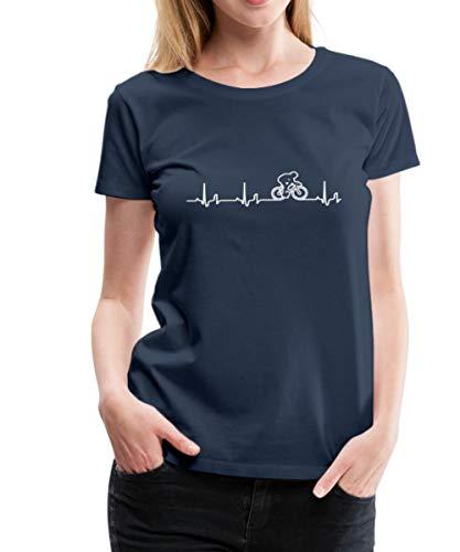Rennrad EKG Fahrrad Rennradfahrer Bike Frauen Premium T-Shirt, XL, Navy