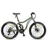 GXQZCL-1 Bicicleta de Montaña,BTT, De 26 Pulgadas de Bicicletas de montaña, Marco de Acero al Carbono Montaña HardtailBicycles, Doble Freno de Disco y suspensión Completa, Velocidad 24 MTB Bike