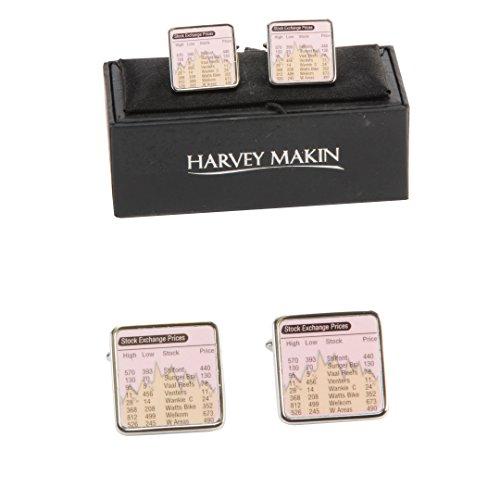 Paire de Harvey Makin, plaqué rhodium, bourse, manchette (hm464).