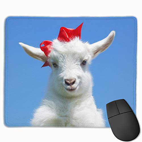 Animals Baby Goat Mouse Pad with Stitched Edge Non-Slip Rubber Base Mouse Mat for Laptop Computer