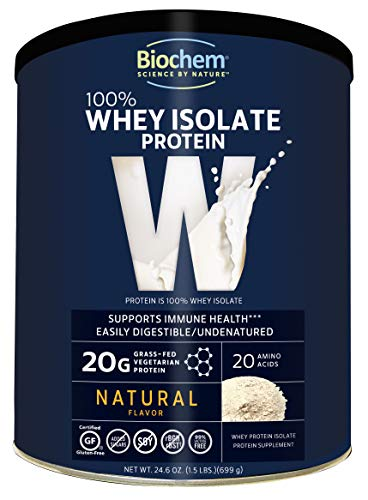 Biochem 100% Whey Isolate Protein - Natural Flavor - 24.6 Ounce - 20g Vegetarian Protein - May Help Support Immune Health - Keto Friendly & Easily Digestible - Refreshing Taste