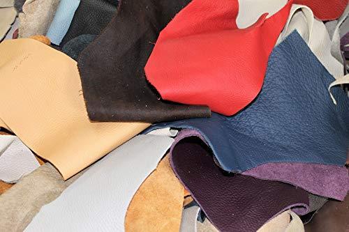 Lederreste Bastelleder Lederstücke 3 Kg bunt, farblich gemischt, alle Stücke Mind. DIN A6 und größer, Zum Basteln und Nähen