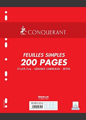 Conquérant Feuilles simples perforées A4 90g 200 pages grands carreaux seyès