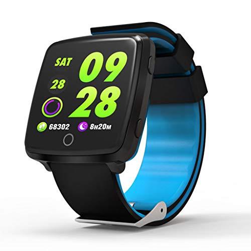 BTPDIAN Pantalla a Color Pulsera Inteligente Paso Ritmo cardíaco presión Arterial Sangre oxígeno Reloj Despertador Modo de Gran Movimiento Pantalla a Color Pulsera Impermeable (Color : Blue)