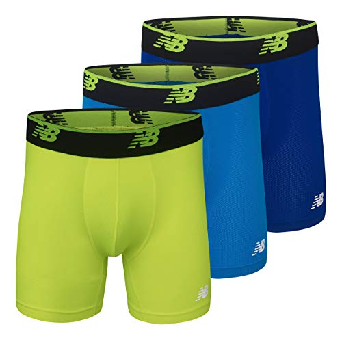 New Balance Men's Mesh 5' No Fly Boxer Brief, Athletic Compression Underwear (3-Pack)