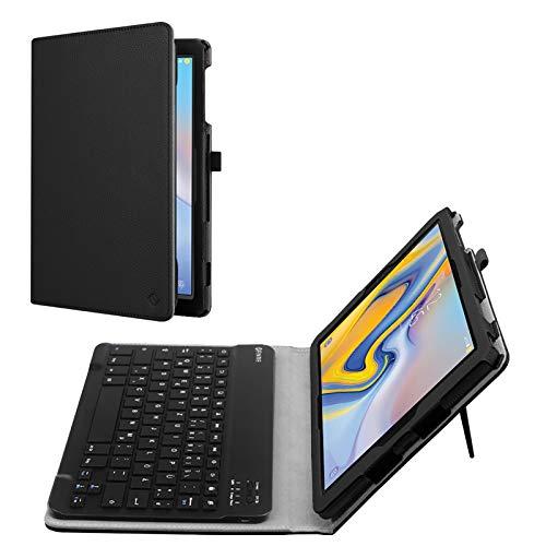 Fintie Tastatur Hülle für Samsung Galaxy Tab A 10.5 SM-T590/T595 Tablet-PC - Slim Fit Kunstleder Stand Schutzhülle mit Magnetisch Abnehmbar Drahtloser Bluetooth Tastatur, Schwarz