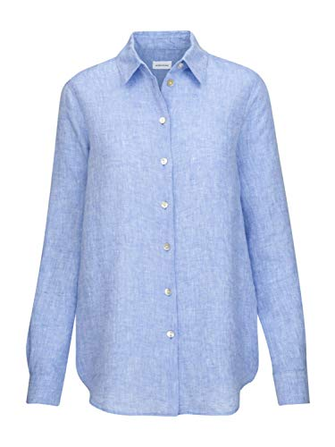 Seidensticker Damesblouse - modieuze blouse - hemdblouse met hemdblousekraag - regular fit - lange mouwen - 100% linnen, blauw, 40 NL