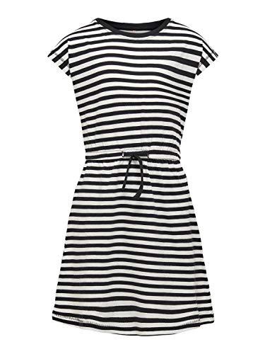 Kids Only Mädchen KONMAY Life S/S Dress Box NOOS JRS Kleid, Black/Stripes:Cloud Dancer, 122/128