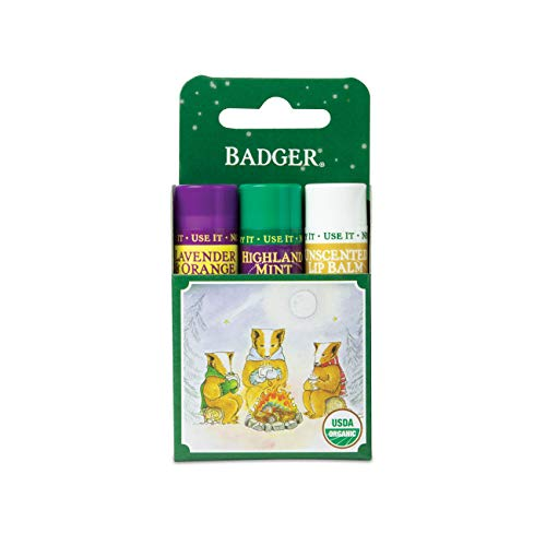 Badger - Classic Lip Balm Green Box, Lip Balm Variety Pack, Lavender & Orange, Highland Mint and Unscented, Certified Organic, Moisturizing Lip Balm, 0.15 oz (3 Pack)