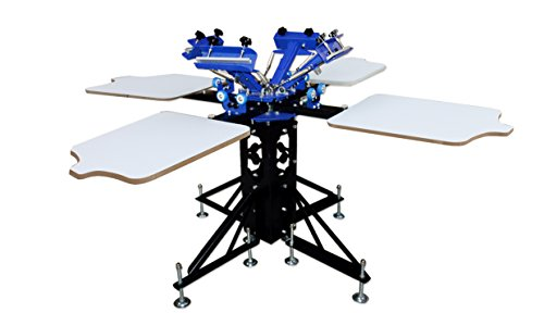 TECHTONGDA 4 Color 4 Station Silk Screen Printing Machine Press DIY T-Shirt Printer