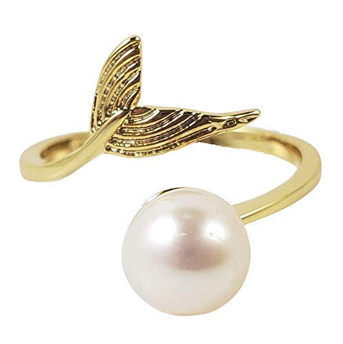 Whale mermaid tail freshwater pearl Indefinitely ring- Free shipping anywhere in the nation adjustable yellow gold