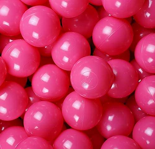 Pack of 100 Rose-Red ( Hot-Pink ) Color Jumbo 3' HD Commercial Grade Ball Pit Balls - Crush-Proof Phthalate Free BPA Free Non-Toxic, Non-Recycled Plastic (Rose-Red, Pack of 100)
