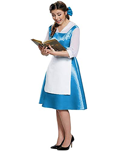 GIKING Belle Blue Dress Adult Beauty and Beast Costume Dresses with Apron Blue S