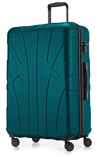Suitline großer Hartschalen-Koffer Koffer Trolley Rollkoffer XL Reisekoffer, TSA, 76 cm, ca. 96-110 Liter, 100{1a3855eb72698e9d97b0d74d4d2fa5eb998f5187ba41b8636c23af1ebe106df2} ABS Matt, Türkis