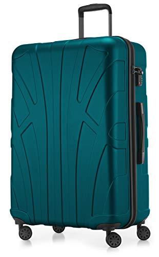Suitline großer Hartschalen-Koffer Koffer Trolley Rollkoffer XL Reisekoffer, TSA, 76 cm, ca. 96-110 Liter, 100{57b7ca9bfd4a017b8998a81c6f20bdddb6c13309720d00106601f4a6b1bf3ec3} ABS Matt, Aquagrün