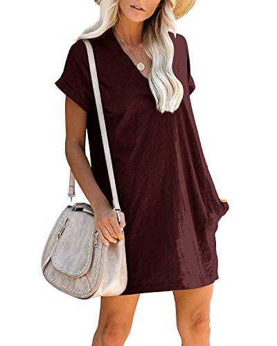 YOINS Damen-Sommerkleider, einfarbig, Minikleid, Tunika, Top, kurze Ärmel, V-Ausschnitt, Weinrot, Größe S