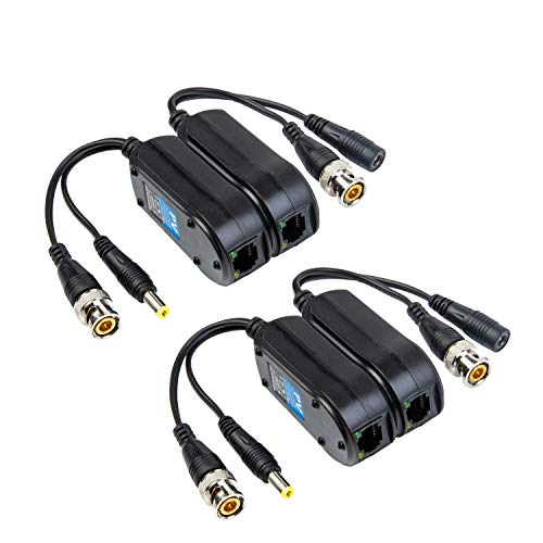 Xenocam 2 Pair Passive Video/Power Balun Upgraded 1080P - 5MP BNC to RJ45 Long Distance Network Transceiver Cat5e / Cat6 Cable to BNC Male Adapter for Full HD Security Surveillance Camera System