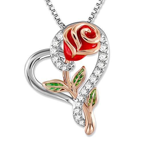 SNZM - Collana con ciondolo a forma di cuore con rosa, da donna, per matrimoni, compleanni, festa della mamma, Natale e Base placcata oro bianco, colore: Rosa rossa., cod. 90302680090-UK