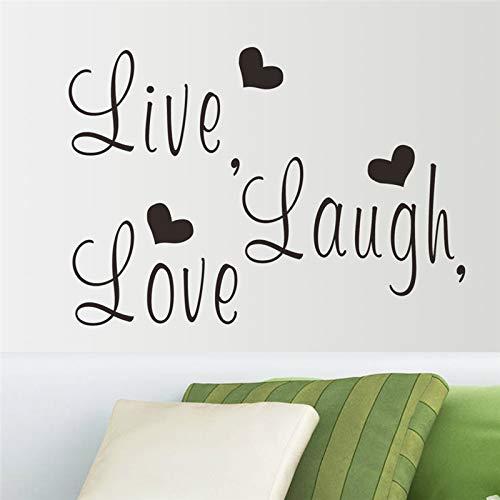 Sticker mural Vivre Laugh Love Lettres Vinyle pour la Chambre Mur Art Décor Diy Noir Stickers