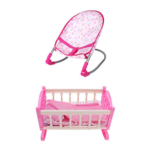 F Fityle Kids Children Play House Toy - Simulation Furniture Playset Baby Infant Doll Bouncer Rocking Chair & Cradle Bed Crib