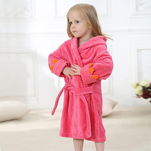 QSMIANA Accappatoio Bambini Accappatoi Baby Kids Pigiama Cappuccio da Spiaggia Hooded Asciugamano Accappatoio Accappatoio Soft Bath Robe Toddler Boys Girls Robe Gown-Rose Red,4T